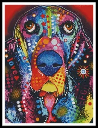 Abstract Basset by Artecy printed cross stitch chart